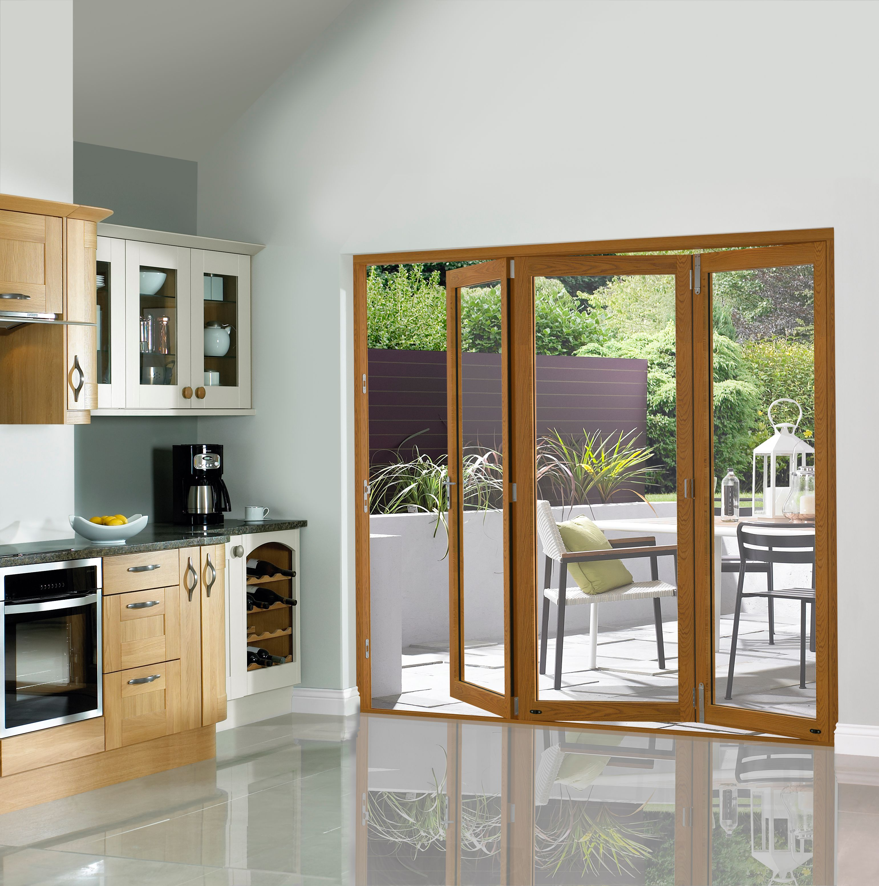 External 54mm Folding Doors Pattern 10 Fully Finished Oak Veneer 7 Ft (2.1M)