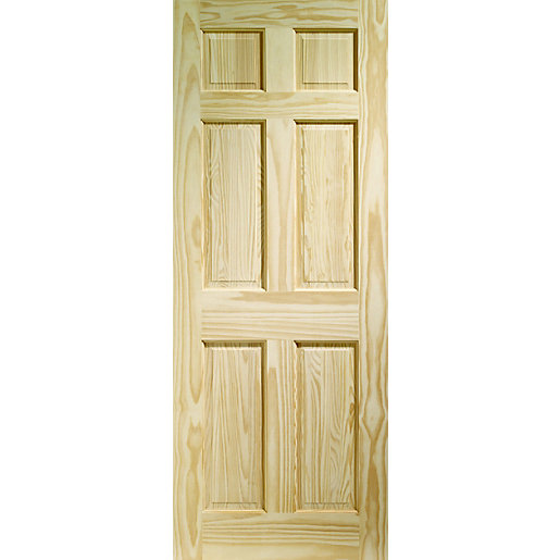Internal clear pine 6 panel door benchmarx kitchens for Door viewer wickes