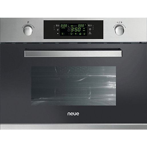 Neue Compact Integrated Microwave With Grill Stainless Steel