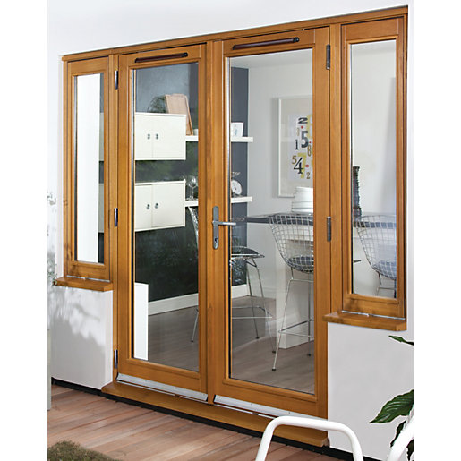 54mm french doors pattern 10 with side lights solid oak 6 for Oak french doors external