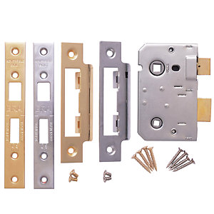 "Bathroom Sashlock 2.5"" (64mm) Bolt-Through Chrome & Brass Striking Plates"