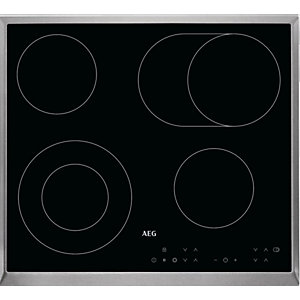 AEG 60 cm Ceramic Hob Touch with Stainless Steel Frame - HK634060XB