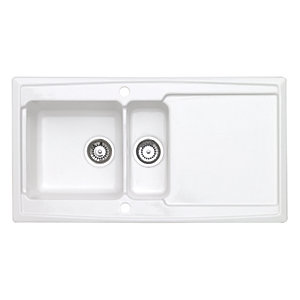 Ardenne 1.5 Bowl Inset White Ceramic Kitchen Sink