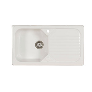 Garrigue 1 Bowl Inset White Ceramic Kitchen Sink