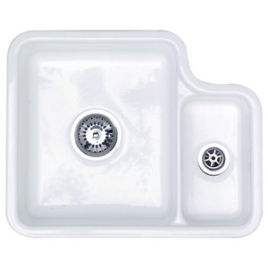 Lincoln 1.5 Bowl Undermount White Ceramic Kitchen Sink