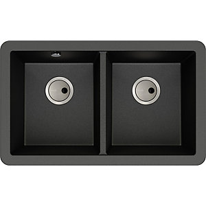 Abode Matrix 2 Bowl Undermount Black Metallic Composite Kitchen Sink