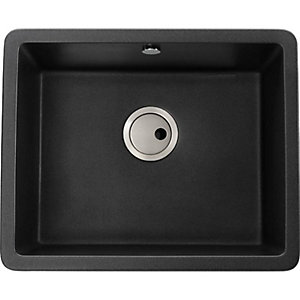 Abode Matrix Square 1 Bowl Undermount Black Composite Kitchen Sink