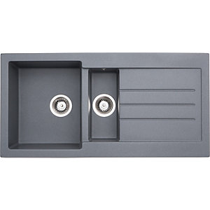 Abode Xcite 1.5 Bowl Inset Grey Composite Kitchen Sink