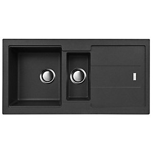 Carron Phoenix 1.5 Bowl Inset Black Composite Kitchen Sink