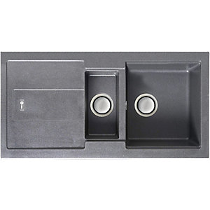 Carron Phoenix Bali 1.5 Bowl Inset Grey Composite Kitchen Sink