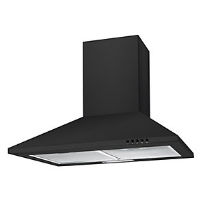 Unbranded 60Cm Black Chimney Hood With Push Button Controls Black NCE60NN