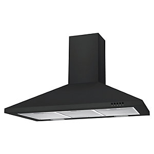 Unbranded 90Cm Black Chimney Hood With Push Button Controls Black Nce90Nn