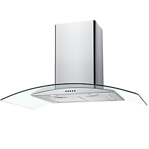 Unbranded 90Cm Curved Glass Chimney Hood With Push Button Controls Stainless Steel & Glass NGM90NX