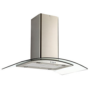 Unbranded Curved Glass Island Hood With Push Button Controls Stainless Steel & Glass NGI96NX