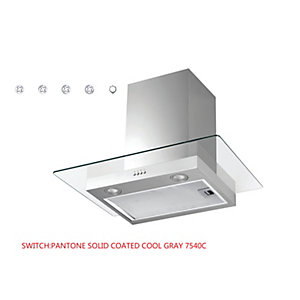 Unbranded Square Glass Chimney Hood With Push Button Controls & Led Lights Stainless Steel & Glass Nvmd600Nx