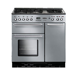 Rangemaster Toledo Dual Fuel Range Cooker 90 cm Stainless Steel with Chrome Trim