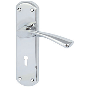 Hafele Olton Lever Handle on Backplate Polished Chrome