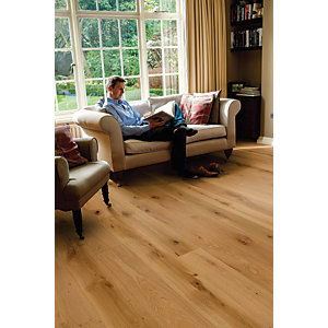 Elka Rustic Brushed & Oiled Oak Wood Uniclic Engineered Flooring 1820mm x 190mm x 14mm