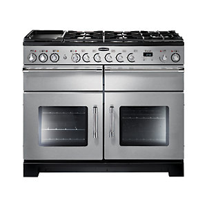 Rangemaster Excel Dual Fuel Range Cooker 110 cm Stainless Steel with Chrome Trim