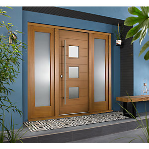 Malmo External Oak Veneer Door 1981 x 838mm + Oak Frame & Side Lights 2 x 24in 610mm L & R