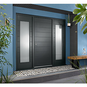 Oslo External Grey Hardwood Veneer Door 1981 x 838mm + Grey Frame & Side Lights 2 x 18in 457mm L & R