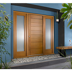 Oslo External Oak Veneer Door 1981 x 838mm + Oak Frame & Side Lights 2 x 24in 610mm L & R
