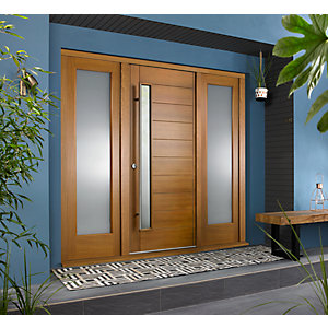 Stockholm External Oak Veneer Door 1981 x 838mm + Oak Frame & Side Lights 2 x 24in 610mm L & R