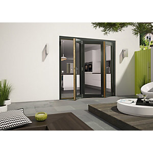 External Aluminium Clad Grey/Pre-Finished Oak Bifold Door Set 2990mm wide