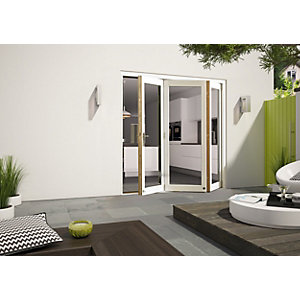 External Aluminium Clad White/Pre-Finished Oak Bifold Door Set 2690mm wide