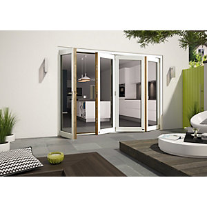 External Aluminium Clad White/Pre-Finished Oak Bifold Door Set 3590mm wide