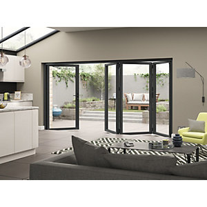 External Aluminium Grey Left Opening Bifold Door Set 3590mm wide