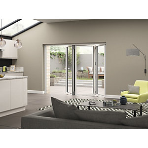 External Aluminium White Left Opening Bifold Door Set 2390mm wide