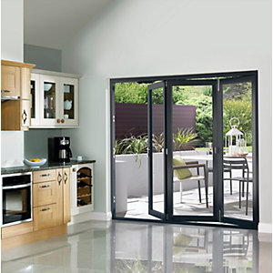 External Slimline Pre-finished Grey Bifold Door Set 2690mm wide