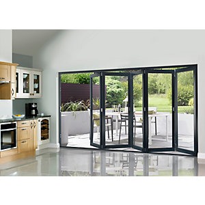 External Slimline Pre-finished Grey Bifold Door Set 3590mm wide