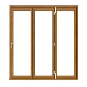 External Slimline Pre-finished Solid Oak Bifold Door Set 2690mm wide