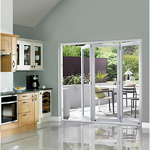 External Slimline Pre-finished White Bifold Door Set 2390mm wide