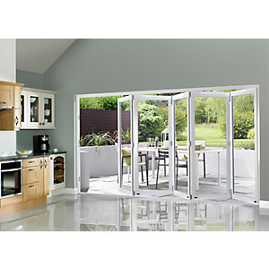 External Slimline Pre-finished White Bifold Door Set 3590mm wide