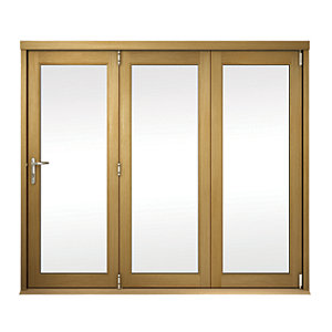 External Slimline Unfinished Oak Veneer Bifold Door Set 2390mm wide