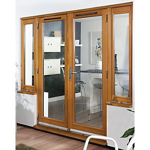 54 mm French Doors Pattern 10 with Side Light (2 x 300) Solid Oak 8 ft (2.4 m)