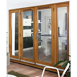 54 mm French Doors Pattern 10 with Side Light (2 x 600) Solid Oak 8 ft (2.4 m)