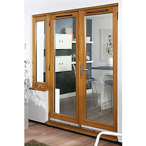 54mm French Doors Pattern 10 With Side Light Solid Oak 7 Ft (2.1M)