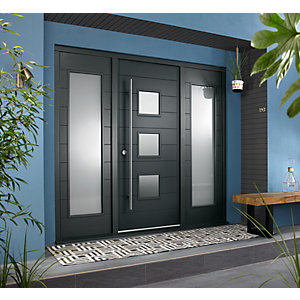 Malmo External Grey Hardwood Veneer Door 1981 x 838mm + Grey Frame & Side Lights 2 x 18in 457mm L & R