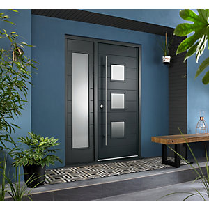 Malmo External Grey Hwd Vnr Door 1981 x 838mm + Grey Frame & Side Light 1 x 18in 457mm Reversible