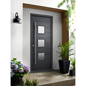 Malmo External Grey Hwd Vnr Door 2032 x 813mm + External Hwd Vnr Door Frame Grey