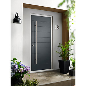 Oslo External Grey Hwd Vnr Door 2032 x 813mm + External Hwd Vnr Door Frame Grey