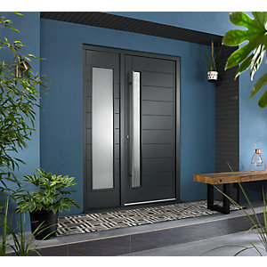 Stockholm External Grey Hardwood Veneer Door 1981 x 838mm + Grey Frame & Side Light 1 x 24in 610mm Reversible