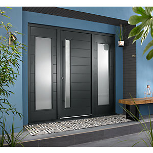 Stockholm External Grey Hardwood Veneer Door 1981 x 838mm + Grey Frame & Side Lights 2 x 24in 610mm L & R