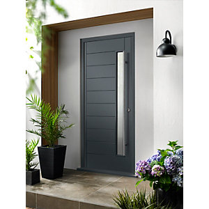 Stockholm External Grey Hwd Vnr Door 1981 x 762mm + External Hwd Vnr Door Frame Grey