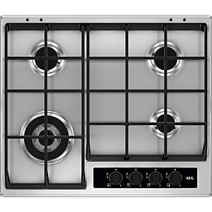 AEG 4 Ring Gas Hob with Cast Iron Supports Stainless Steel 60cm HG654550SY