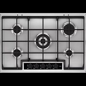 AEG Gas Hob with Cast Iron Supports Stainless Steel 75cm HG755450SY